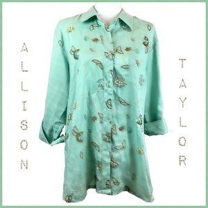 Allison Taylor Embellished Linen Button Front Sz L